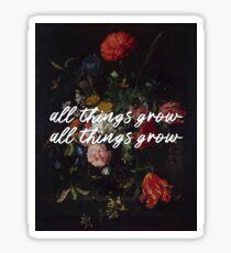 "sufjan stevens ""all things grow"" lyrics on art Sticker"