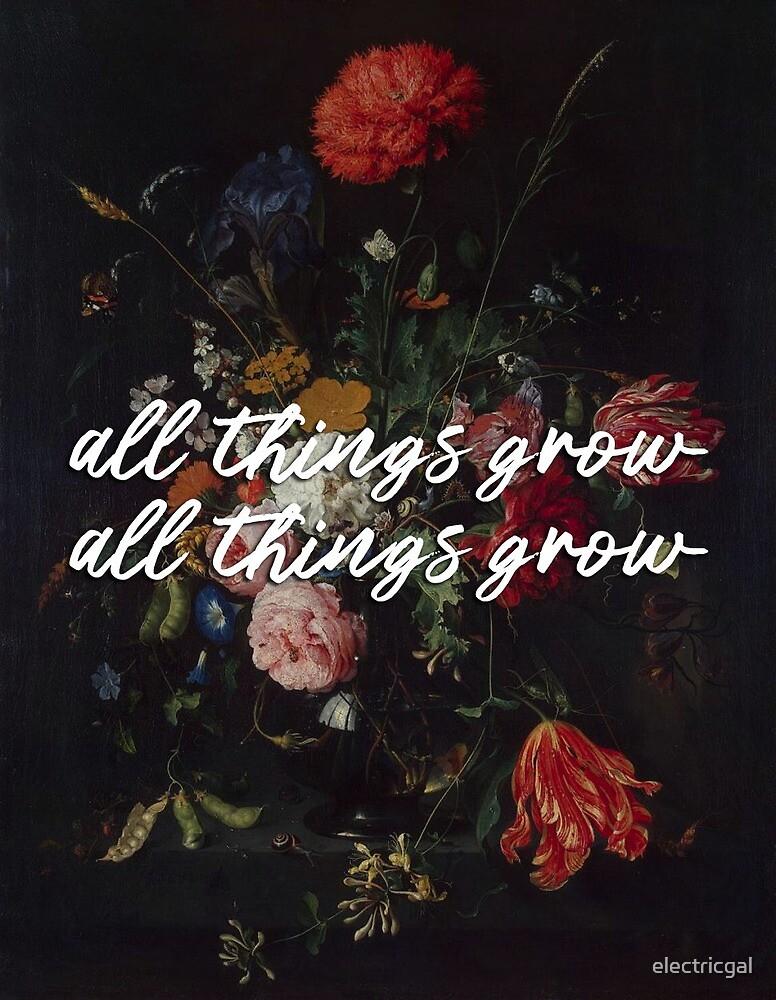"sufjan stevens ""all things grow"" lyrics on art by electricgal"