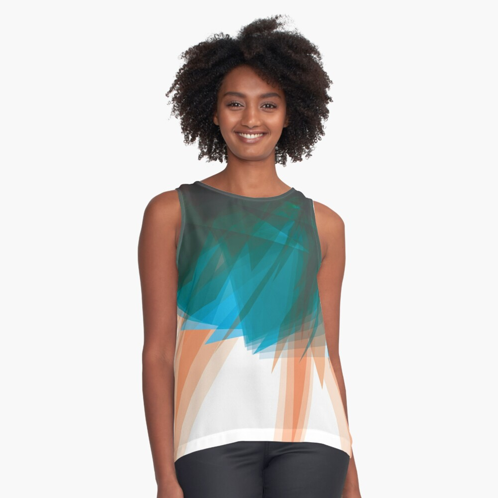 Blue Orange Abstract Art Contrast Tank Front
