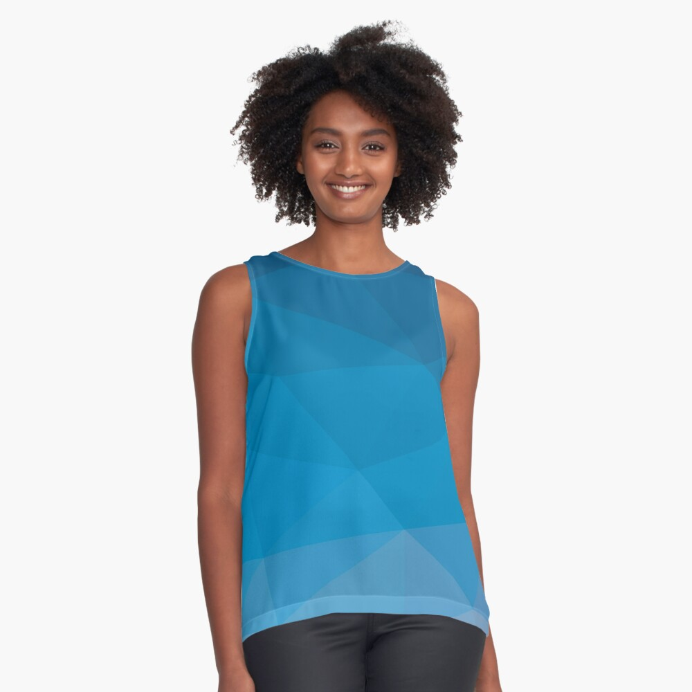 Blue Abstract Art Contrast Tank Front