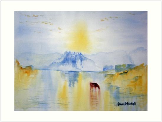 Sunrise over Norham Abbey by Glenn  Marshall