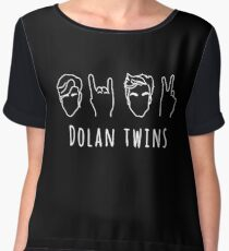 Dolan Twins- outline white Chiffon Top