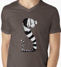 Bug Eyed Black and White Striped Snake...Thing? Men's V-Neck T-Shirt