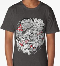 hand drawn fine line black and red fantasy   Long T-Shirt