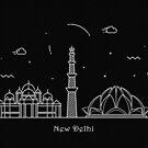 New Delhi Skyline Minimal Line Art Poster by A Deniz Akerman