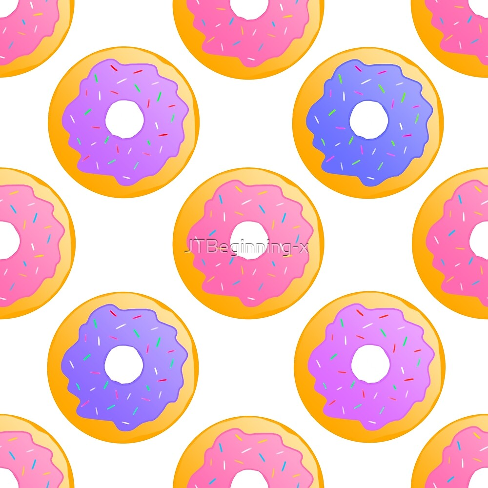 Donut pattern in pink, purple and blue. by JustTheBeginning-x .com
