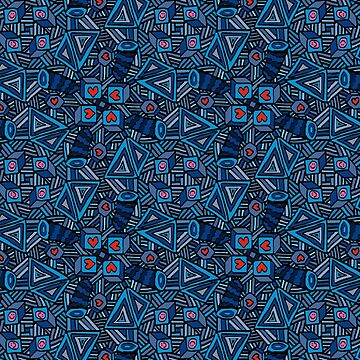 Blue Doodles - Hearts And Smiles   by Gravityx9