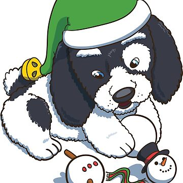 Puppy Wearing a New Year Elf Hat Plaing with Snowman by illumylov