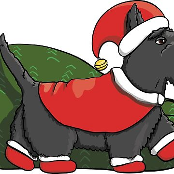 Cartoon Scotch Terrier Santa Character Delivering Presents to Kids for New Year by illumylov