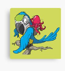 Octopus and Parrot take a Long Ride Canvas Print