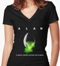 ALAN In Space Nobody Can Hear You In Space Women's Fitted V-Neck T-Shirt