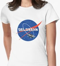 Back to the Future - DeLorean + Nasa Logo Women's Fitted T-Shirt