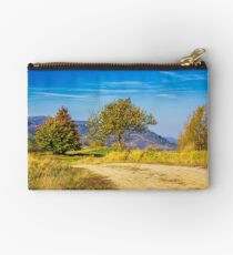 trees near the meadow path in autumn mountains Studio Pouch