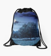 meadow near the forest in mountains at night  Drawstring Bag