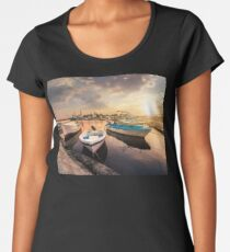 fishing boats in port of Sozopol  at sunset Premium Scoop T-Shirt
