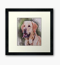 Portrait dog painting t shirt  Framed Print
