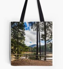 pier on mountain Lake near  forest Tote Bag