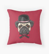 Dog fawn pug in a hat and bow tie Floor Pillow