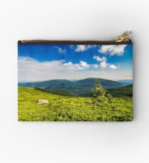 conifer tree with stone on hillside Studio Pouch