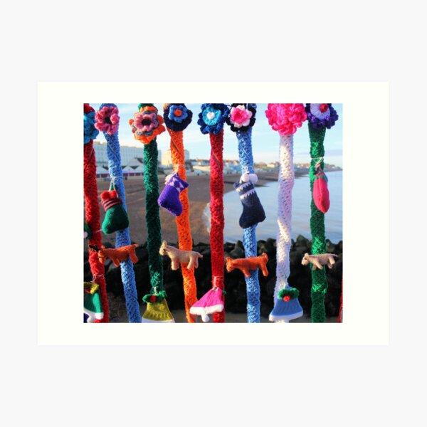 Yarn bomb Christmas Stocking style Art Print