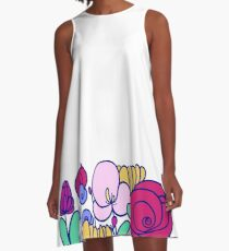 Flowery Cup A-Line Dress