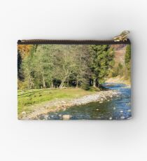 river in autumn mountain forest  Studio Pouch
