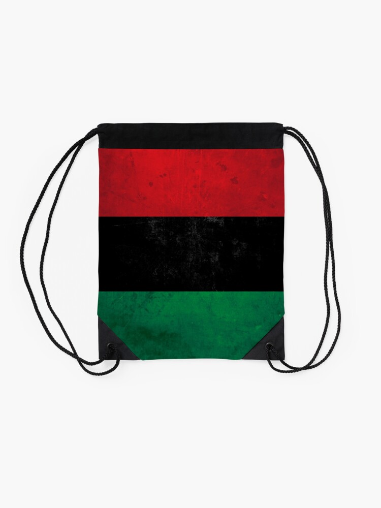 Alternate view of Distressed Afro-American / Pan-African / UNIA flag Drawstring Bag