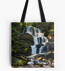 big waterfall in green forest Tote Bag