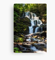 big waterfall in green forest Canvas Print