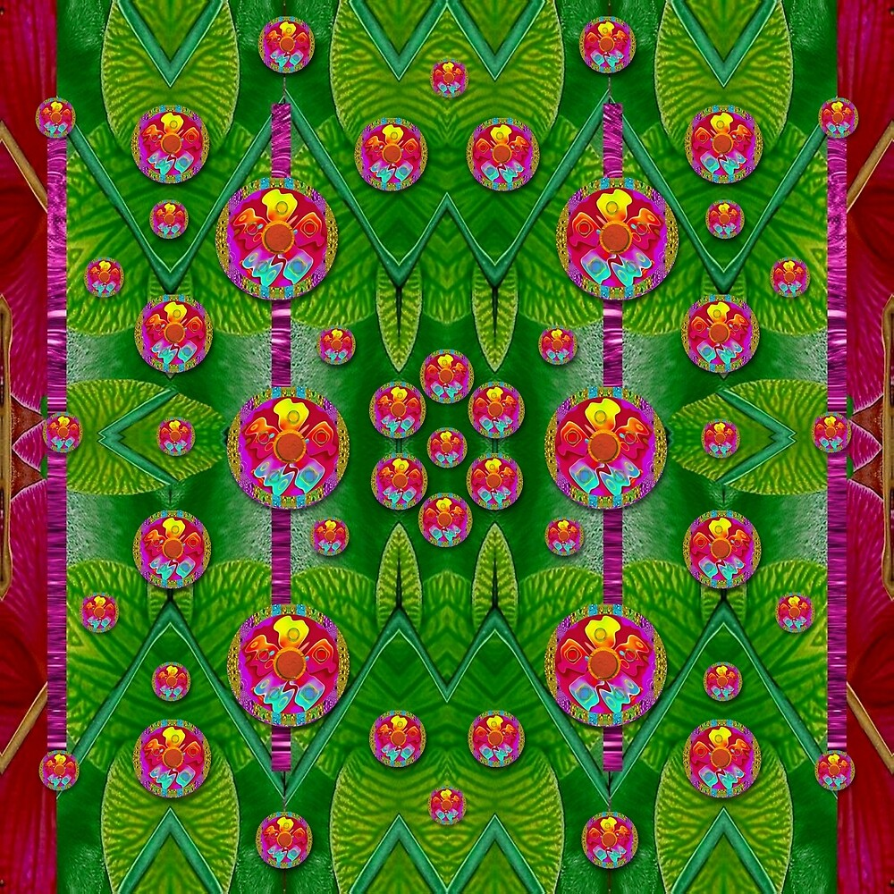 Orchid Forest Filled of big flowers and chevron by Pepita Selles