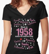 Made In 1958 - Aged To Perfection Women's Fitted V-Neck T-Shirt