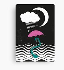 The octopus and the sea (on a rainy day) Canvas Print