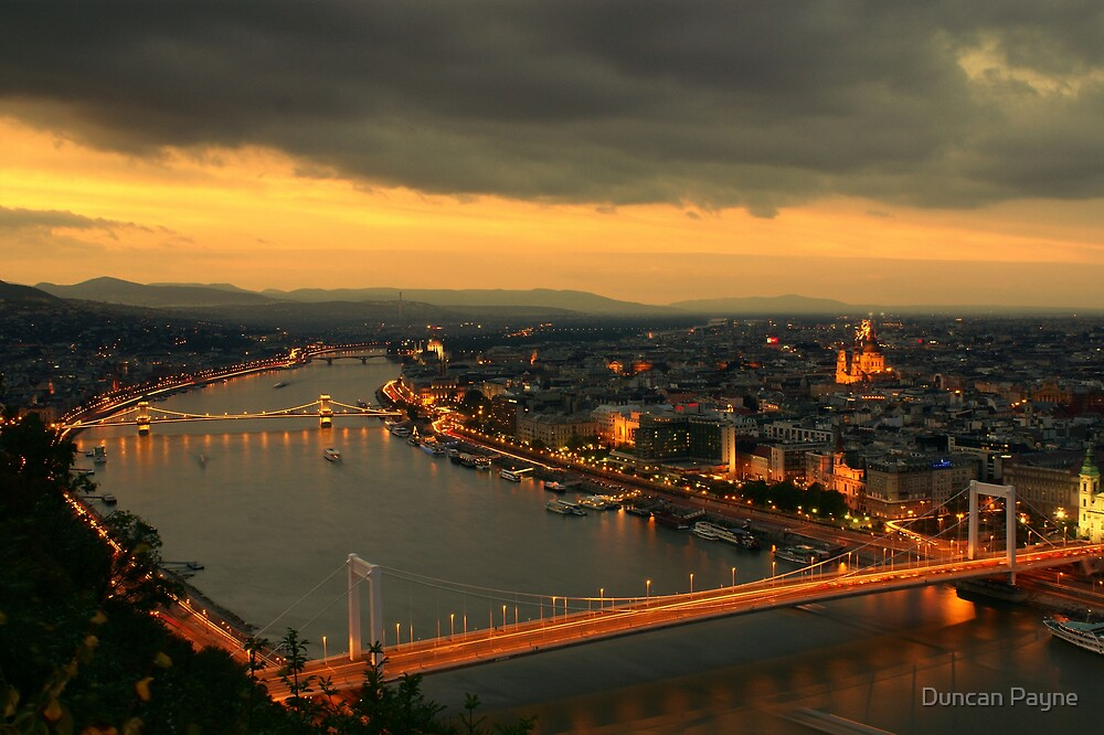 Budapest Night Time Sunset by Duncan Payne