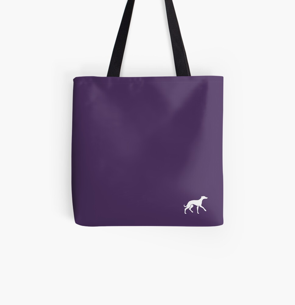 White Whippet On Purple Design All Over Print Tote Bag