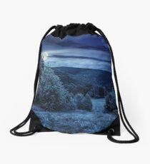 forest glade on hillside at night Drawstring Bag