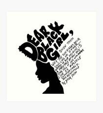 Liebes schwarzes Mädchen Kunstdruck
