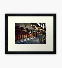 Artistic photo of Japanese restaurant front entrance through tree leaves Gion Kyoto Japan art photo print Framed Print