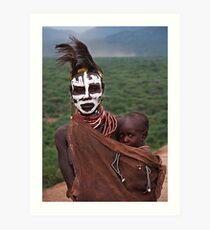 KARO MOTHER AND CHILD - ETHIOPIA Art Print