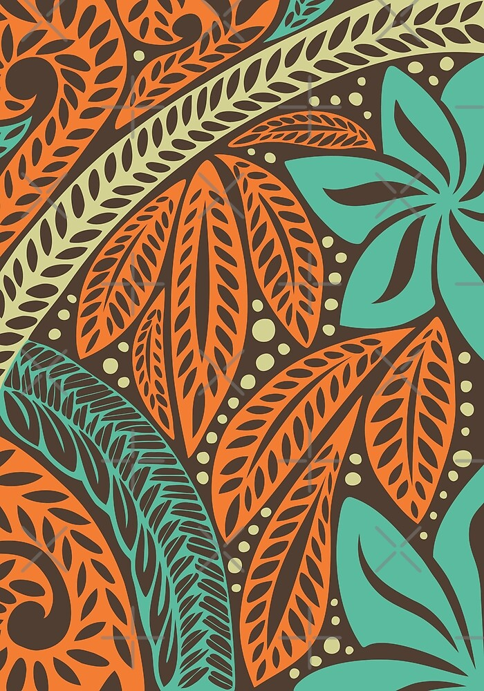 Blue orange retro colored Polynesian floral tattoo design by Ayelet Fleming
