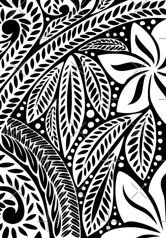 f6196d424 White Polynesian flower floral tattoo design over black background by  Ayelet Fleming