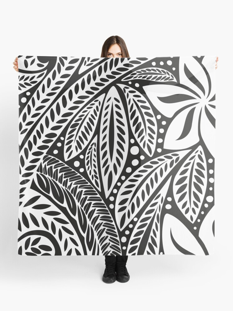 1c96d53b3 White Polynesian flower floral tattoo design over black background Scarf