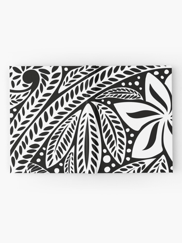 a1eaceda1 Alternate view of White Polynesian flower floral tattoo design over black  background Hardcover Journal