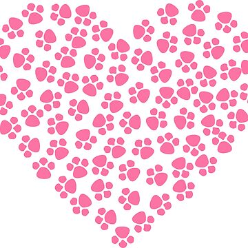Pink Heart-Shaped Animal Paw Print by mkybb