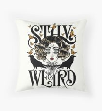 Rose and The Ravens {Stay Weird} Colour Version Throw Pillow