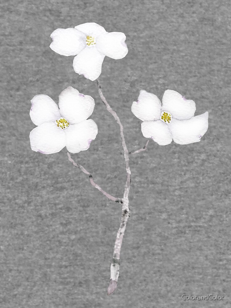 White Dogwood Flower Watercolor Lightweight Hoodie By