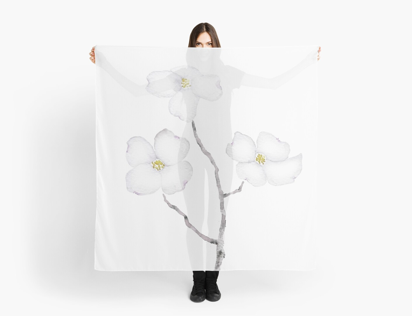 White Dogwood Flower Watercolor Scarves By Colorandcolor Redbubble