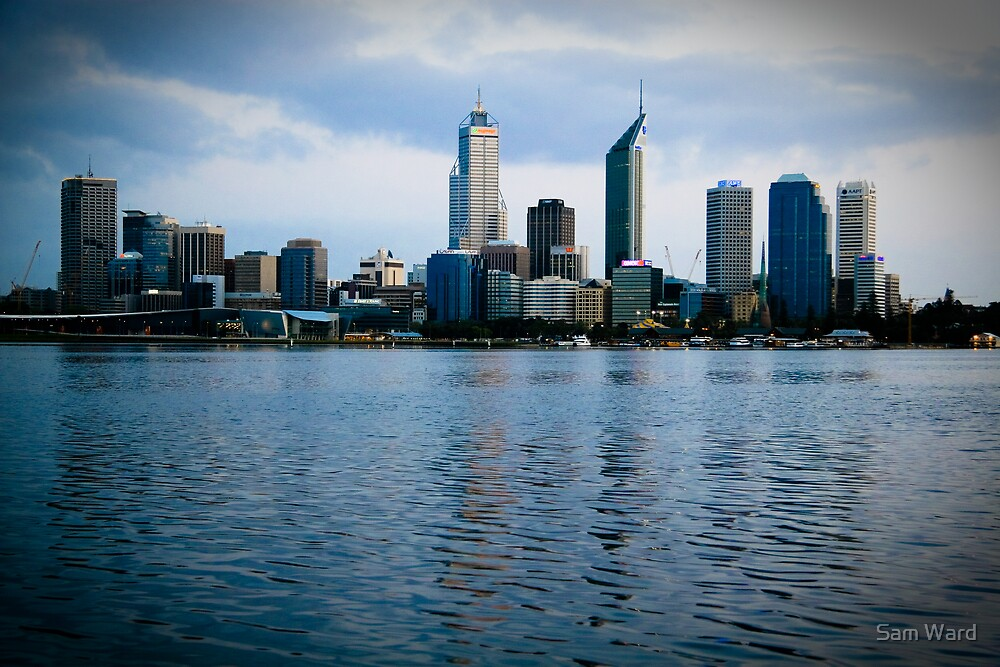 Blue Perth City Skyline by Sam Ward
