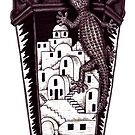 Santorini gecko surreal black and white pen ink drawing by Vitaliy Gonikman