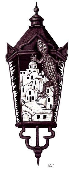 Santorini gecko surreal black and white pen ink drawing by Vitaliy Gonikman