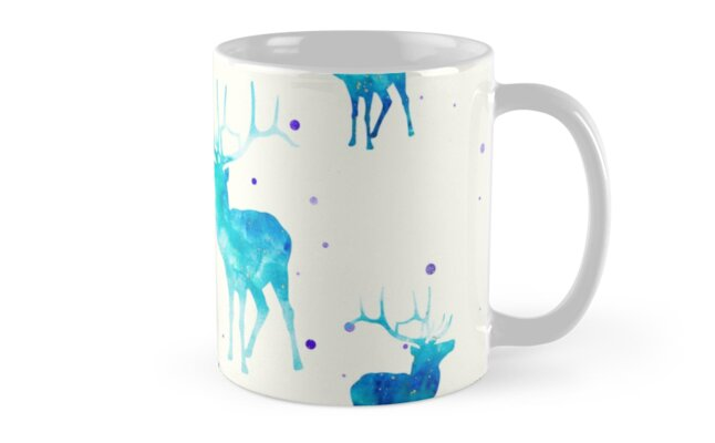 TURQUOISE DEER PATTERN by inkybluemoon